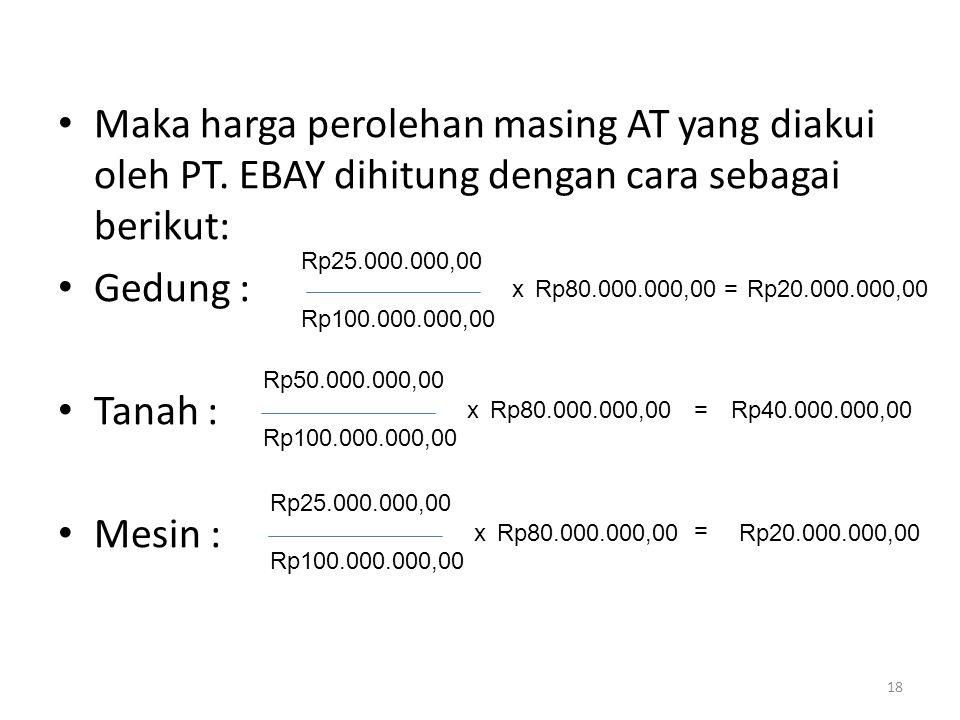 Maka harga perolehan masing AT yang diakui oleh PT