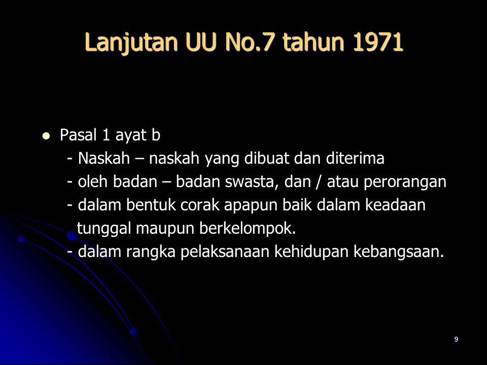 Lanjutan UU No.7 tahun 1971 Pasal 1 ayat b