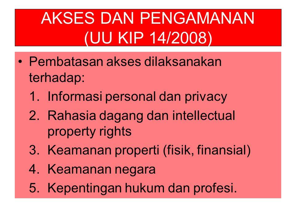 AKSES DAN PENGAMANAN (UU KIP 14/2008)