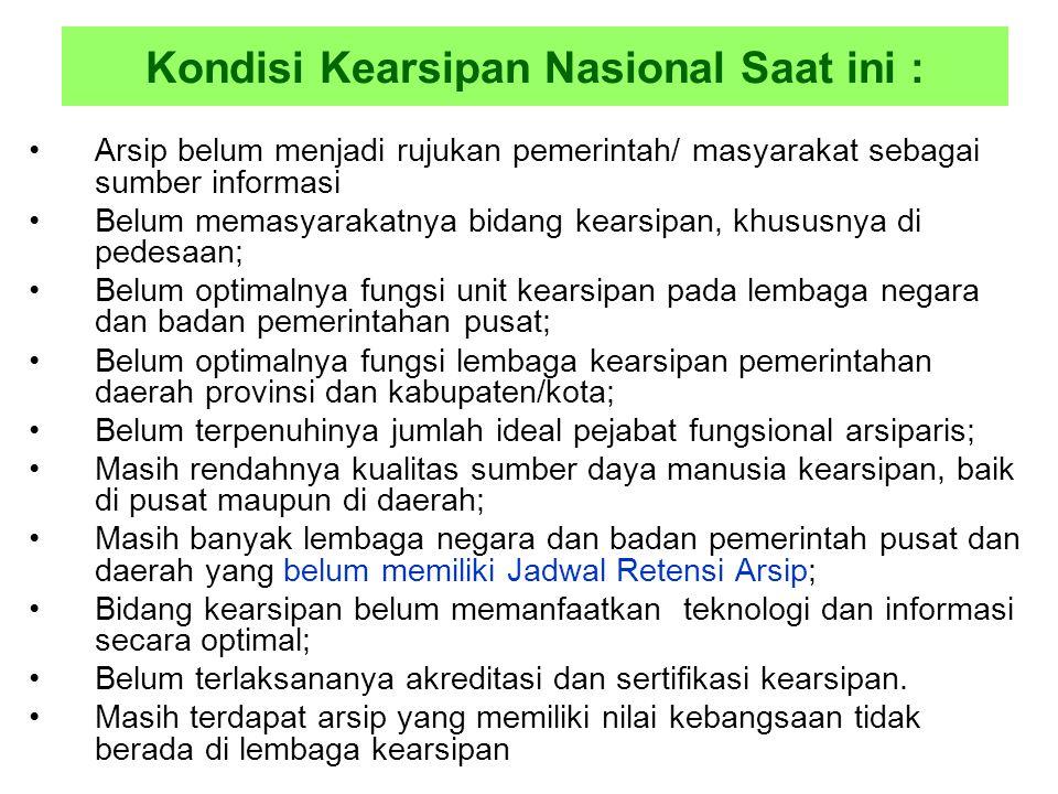 Kondisi Kearsipan Nasional Saat ini :