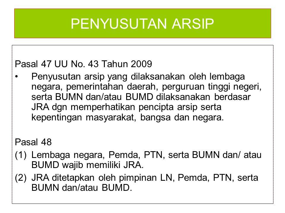 PENYUSUTAN ARSIP Pasal 47 UU No. 43 Tahun 2009