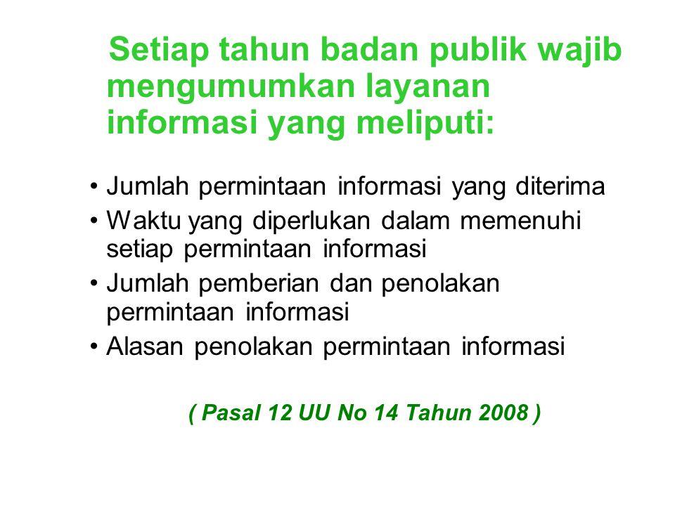 Setiap tahun badan publik wajib mengumumkan layanan informasi yang meliputi:
