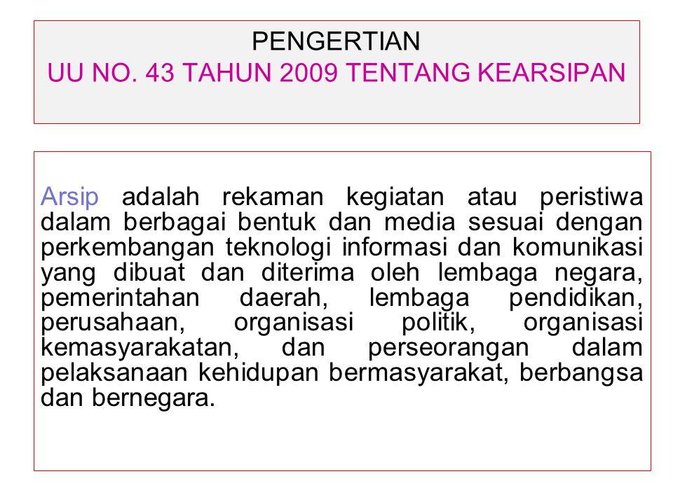 PENGERTIAN UU NO. 43 TAHUN 2009 TENTANG KEARSIPAN