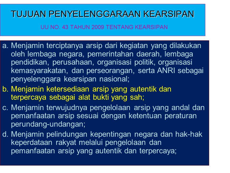 TUJUAN PENYELENGGARAAN KEARSIPAN UU NO. 43 TAHUN 2009 TENTANG KEARSIPAN