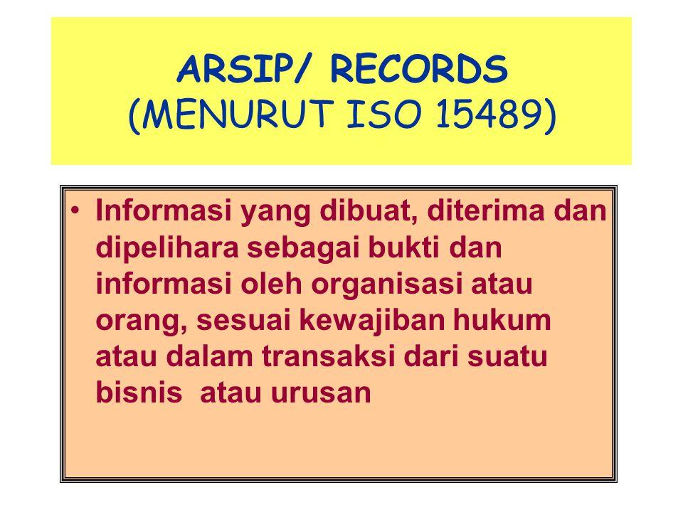 ARSIP/ RECORDS (MENURUT ISO 15489)