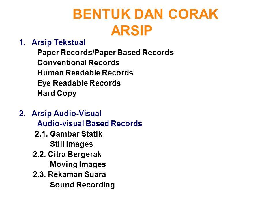 BENTUK DAN CORAK ARSIP 1. Arsip Tekstual