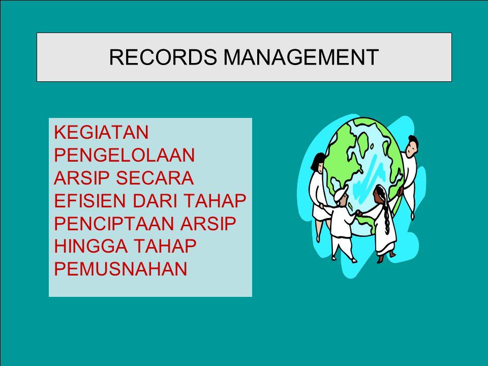RECORDS MANAGEMENT KEGIATAN PENGELOLAAN ARSIP SECARA EFISIEN DARI TAHAP PENCIPTAAN ARSIP HINGGA TAHAP PEMUSNAHAN.