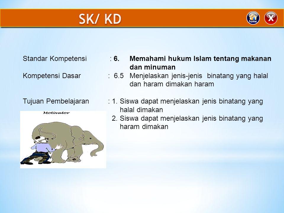 SK/ KD Standar Kompetensi : 6. Memahami hukum Islam tentang makanan