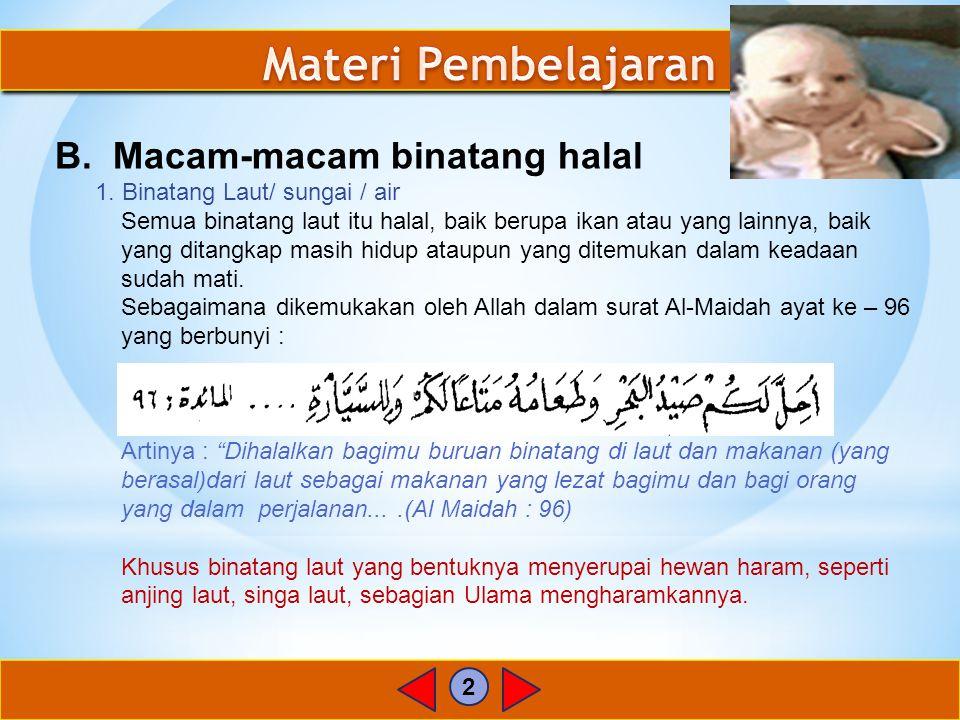 Materi Pembelajaran B. Macam-macam binatang halal