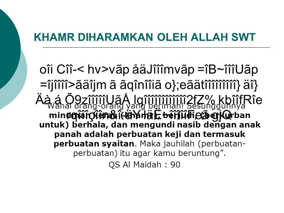 KHAMR DIHARAMKAN OLEH ALLAH SWT