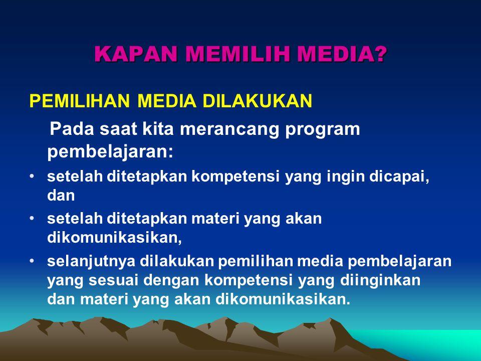 KAPAN MEMILIH MEDIA PEMILIHAN MEDIA DILAKUKAN