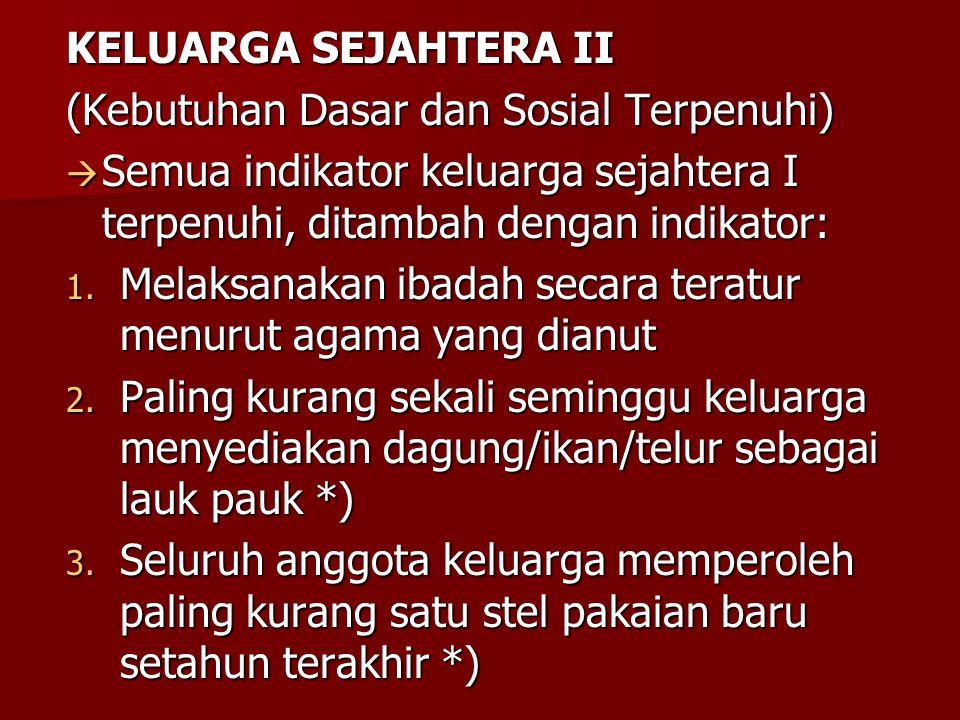 KELUARGA SEJAHTERA II (Kebutuhan Dasar dan Sosial Terpenuhi) Semua indikator keluarga sejahtera I terpenuhi, ditambah dengan indikator: