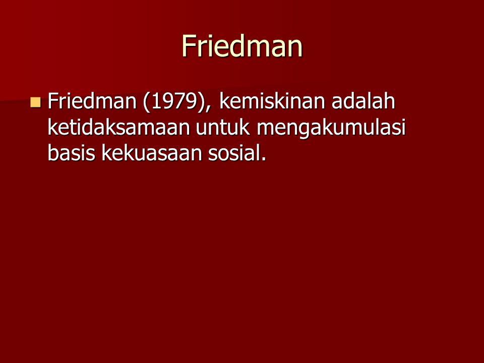 Friedman Friedman (1979), kemiskinan adalah ketidaksamaan untuk mengakumulasi basis kekuasaan sosial.