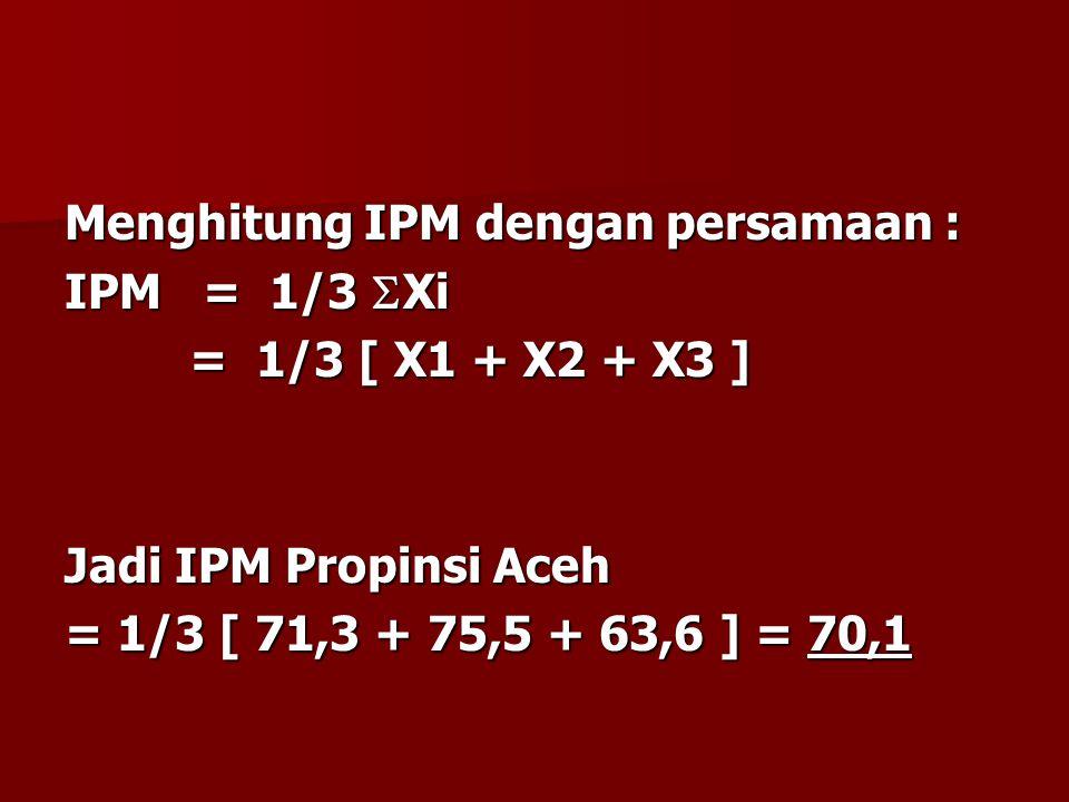 Menghitung IPM dengan persamaan :