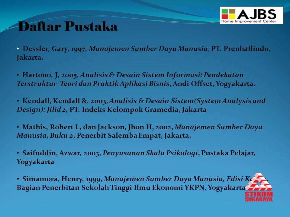 Daftar Pustaka Dessler, Gary, 1997, Manajemen Sumber Daya Manusia, PT. Prenhallindo, Jakarta.