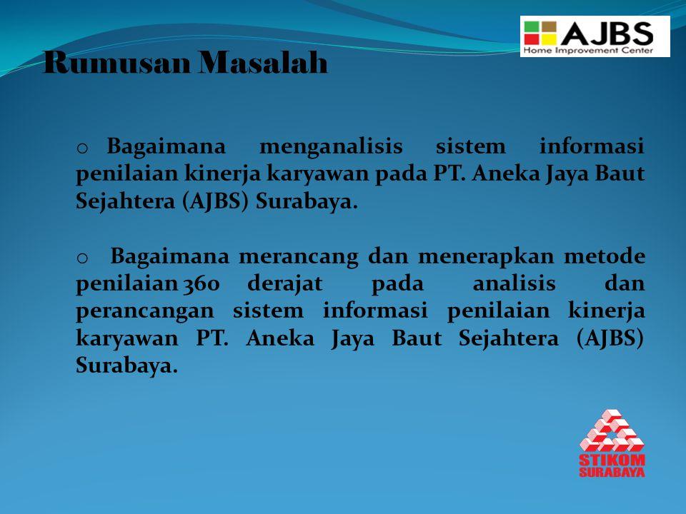 Rumusan Masalah Bagaimana menganalisis sistem informasi penilaian kinerja karyawan pada PT. Aneka Jaya Baut Sejahtera (AJBS) Surabaya.