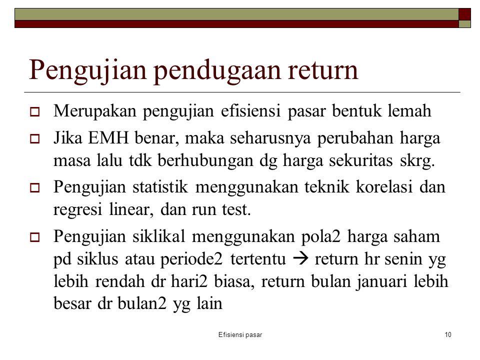 Pengujian pendugaan return