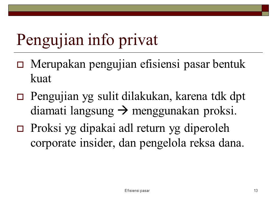 Pengujian info privat Merupakan pengujian efisiensi pasar bentuk kuat