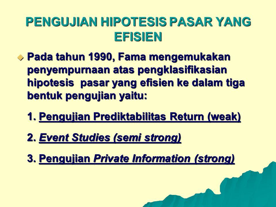 PENGUJIAN HIPOTESIS PASAR YANG EFISIEN