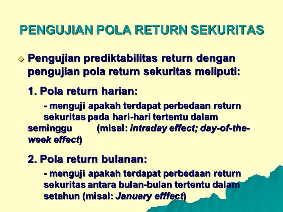 PENGUJIAN POLA RETURN SEKURITAS