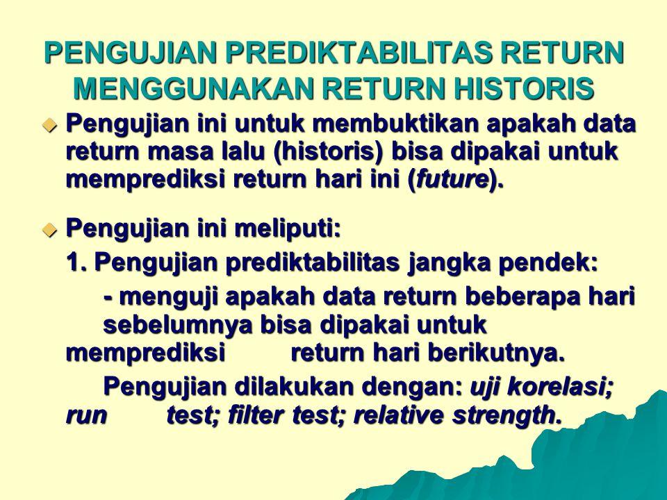 PENGUJIAN PREDIKTABILITAS RETURN MENGGUNAKAN RETURN HISTORIS
