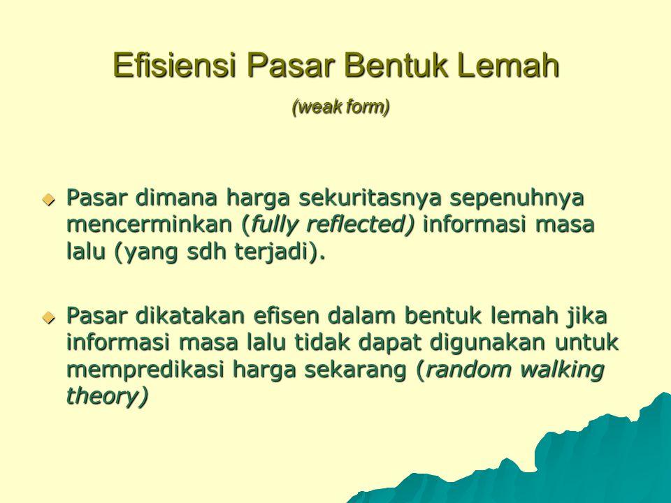 Efisiensi Pasar Bentuk Lemah (weak form)