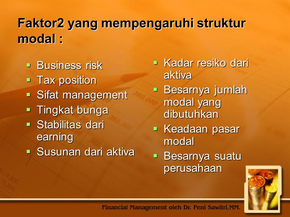 Faktor2 yang mempengaruhi struktur modal :