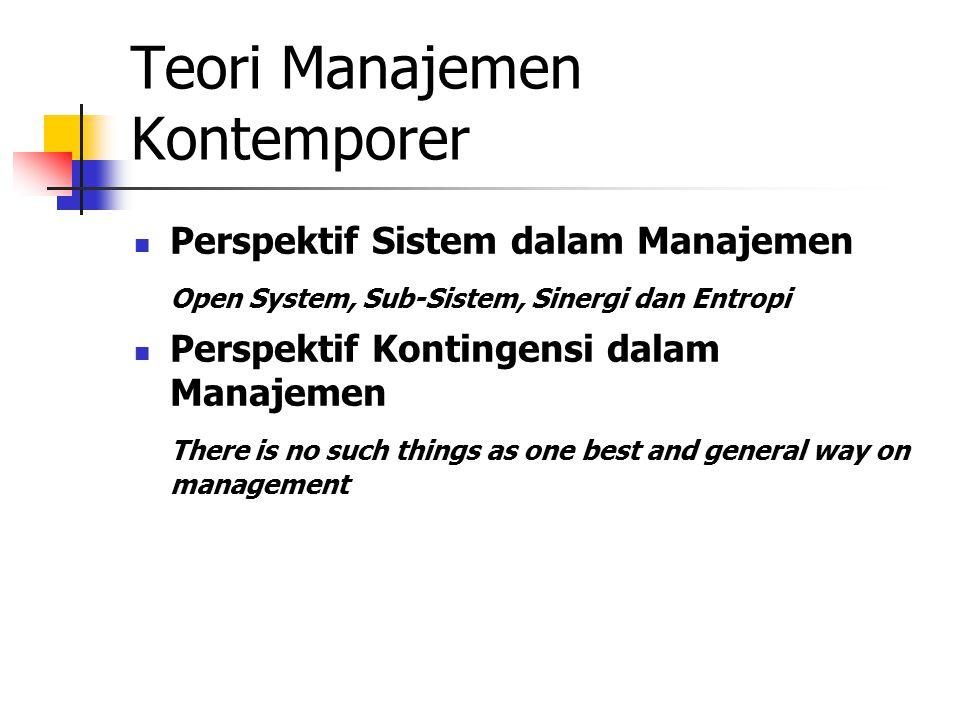 Teori Manajemen Kontemporer