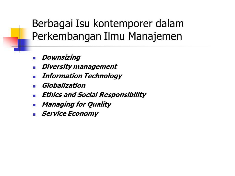 Berbagai Isu kontemporer dalam Perkembangan Ilmu Manajemen