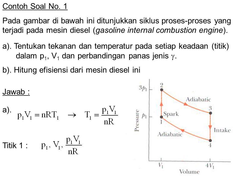 Contoh Soal No. 1 Pada gambar di bawah ini ditunjukkan siklus proses-proses yang terjadi pada mesin diesel (gasoline internal combustion engine).