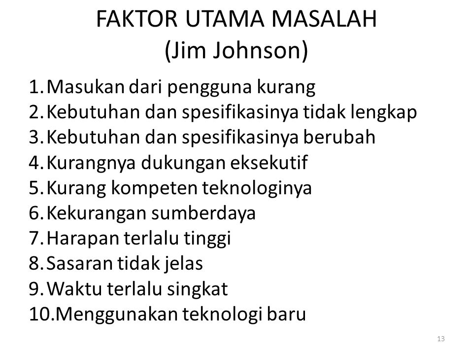 FAKTOR UTAMA MASALAH (Jim Johnson)