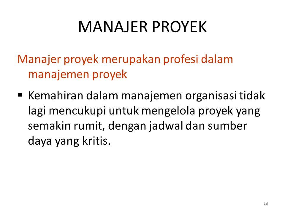 MANAJER PROYEK Manajer proyek merupakan profesi dalam manajemen proyek