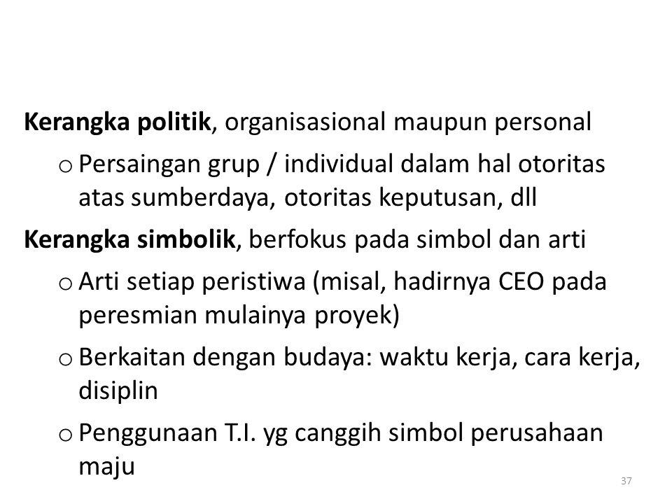 Kerangka politik, organisasional maupun personal