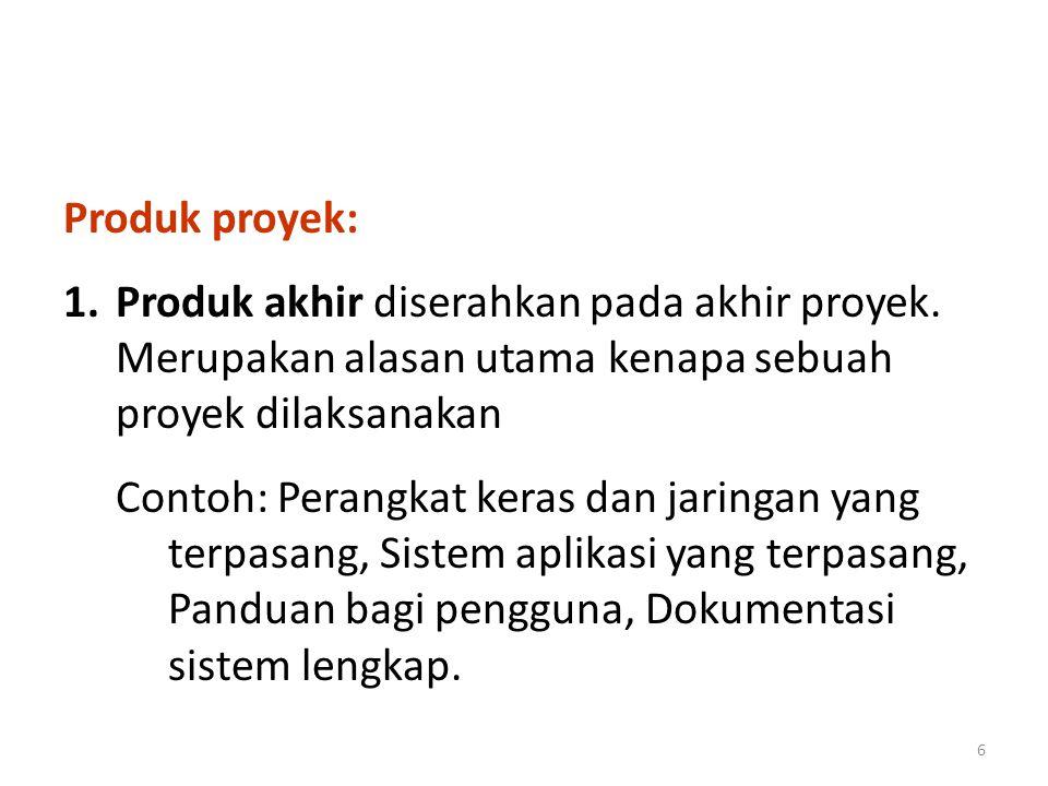 Produk proyek: Produk akhir diserahkan pada akhir proyek. Merupakan alasan utama kenapa sebuah proyek dilaksanakan.