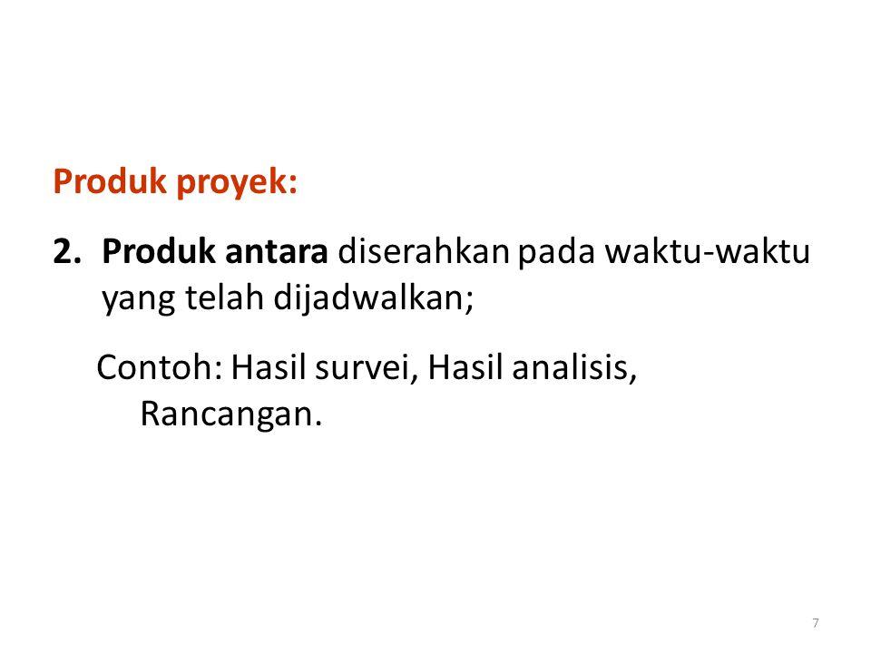 Produk proyek: Produk antara diserahkan pada waktu-waktu yang telah dijadwalkan; Contoh: Hasil survei, Hasil analisis, Rancangan.