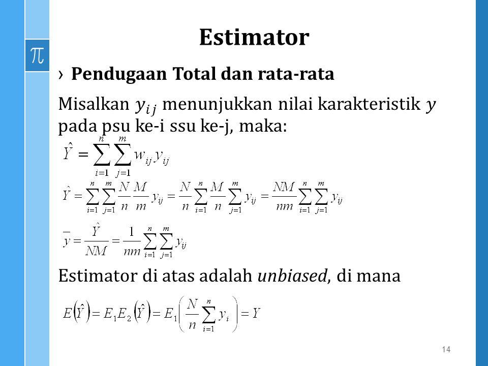 Estimator Pendugaan Total dan rata-rata