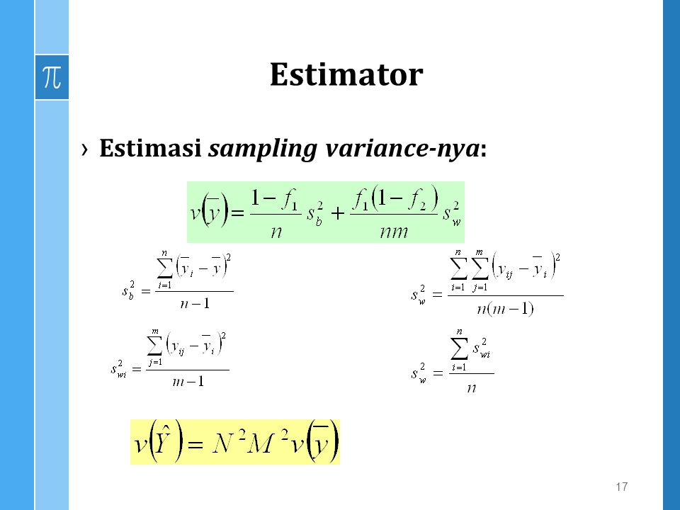 Estimator Estimasi sampling variance-nya: