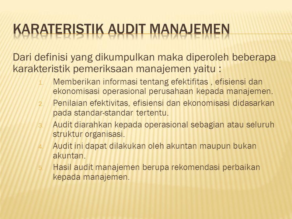 Karateristik Audit manajemen