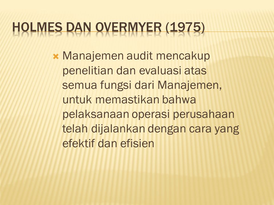 Holmes dan Overmyer (1975)