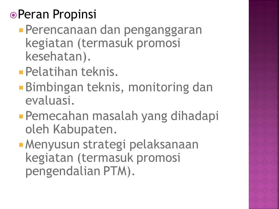 Peran Propinsi Perencanaan dan penganggaran kegiatan (termasuk promosi kesehatan). Pelatihan teknis.
