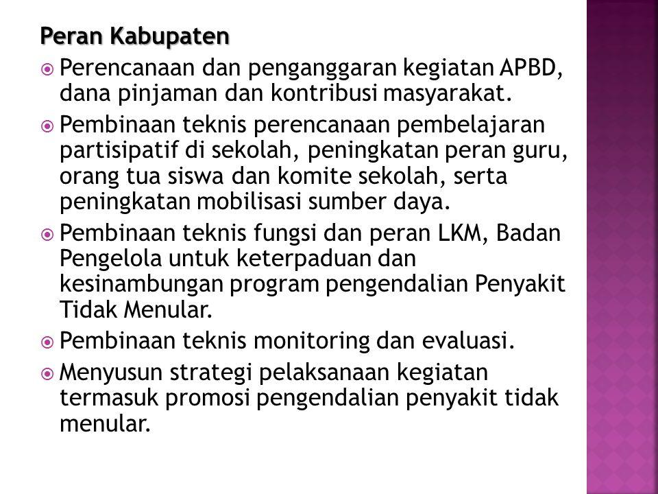 Peran Kabupaten Perencanaan dan penganggaran kegiatan APBD, dana pinjaman dan kontribusi masyarakat.