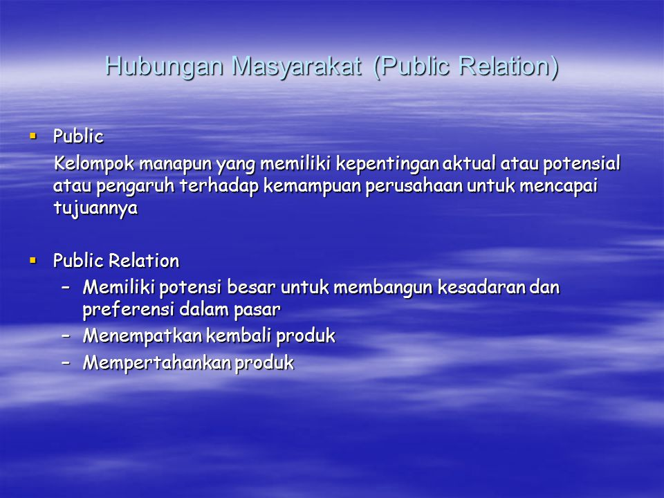 Hubungan Masyarakat (Public Relation)
