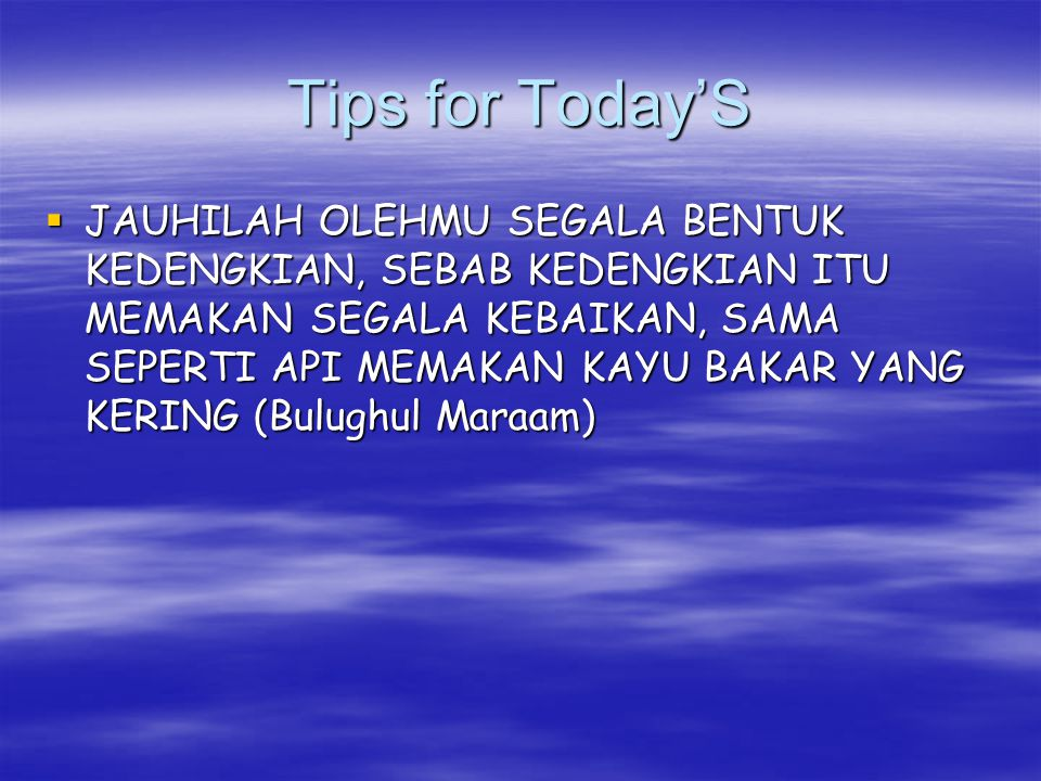 Tips for Today'S