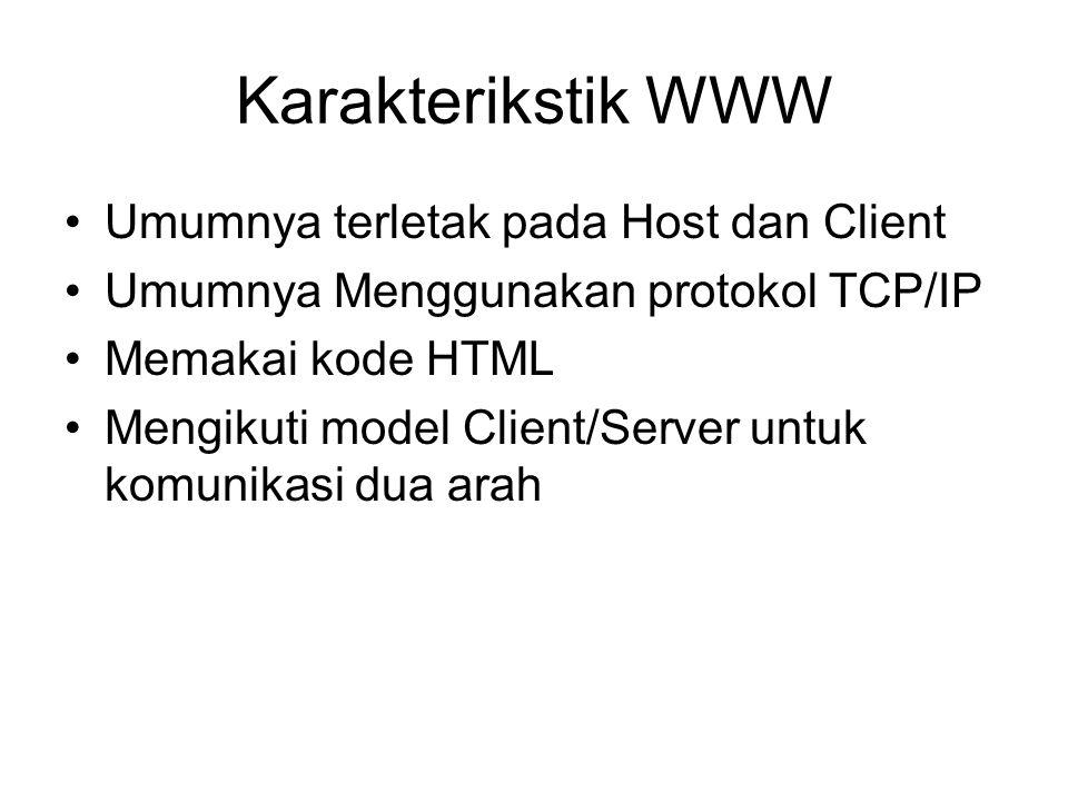 Karakterikstik WWW Umumnya terletak pada Host dan Client