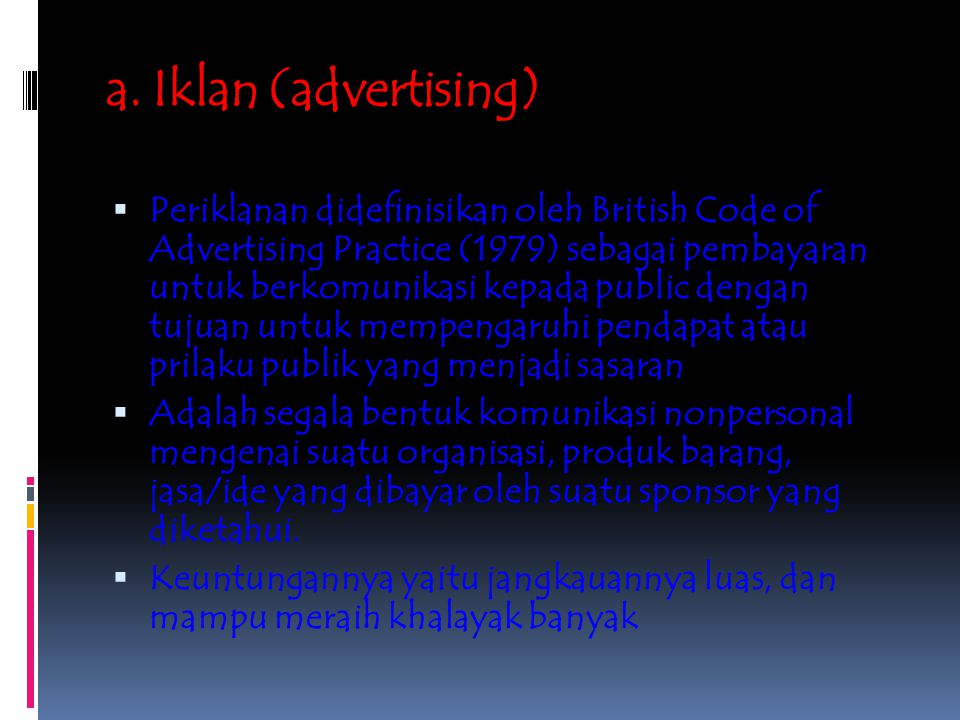a. Iklan (advertising)