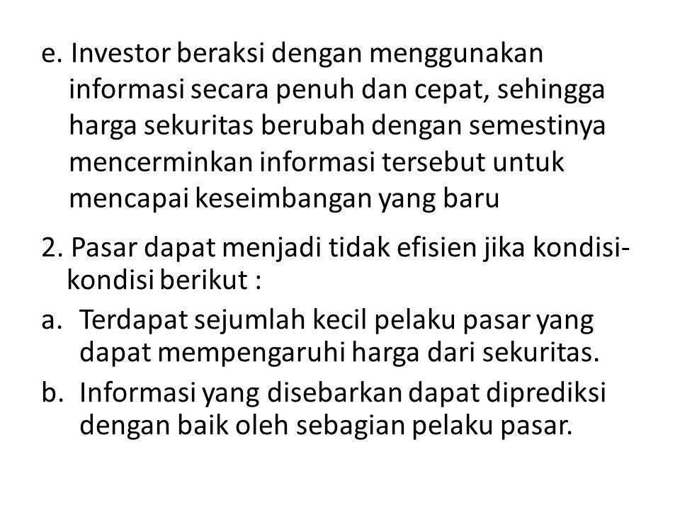 e. Investor beraksi dengan menggunakan informasi secara penuh dan cepat, sehingga harga sekuritas berubah dengan semestinya mencerminkan informasi tersebut untuk mencapai keseimbangan yang baru