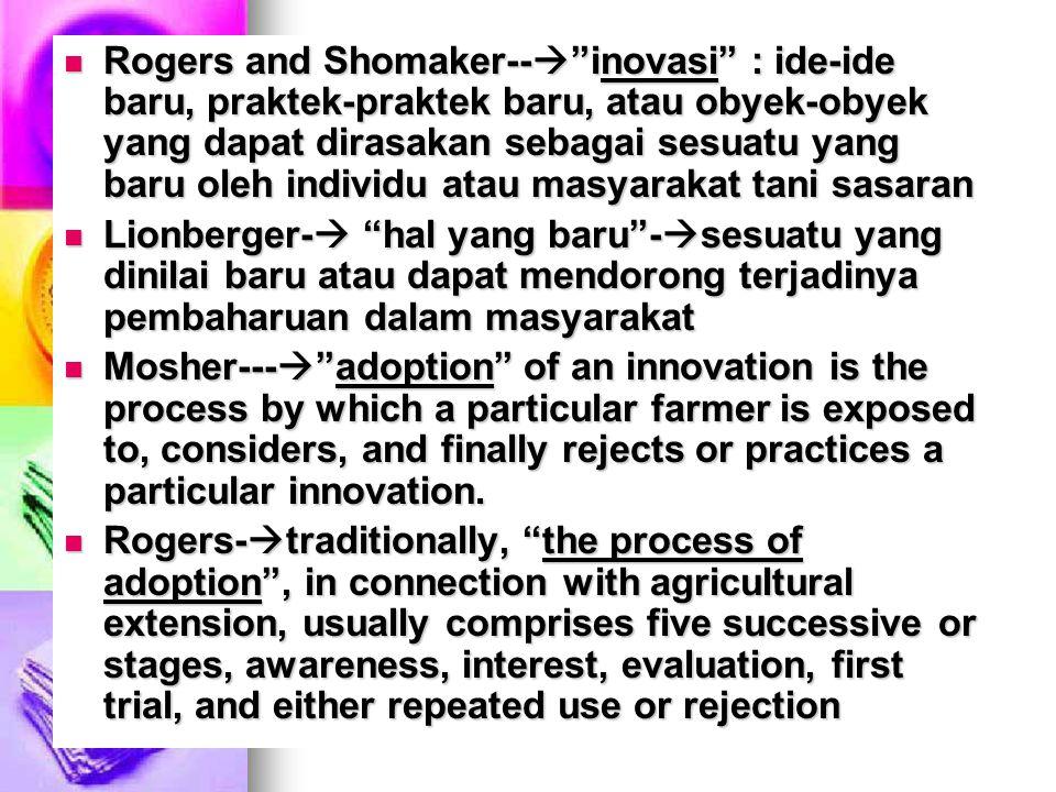 Rogers and Shomaker-- inovasi : ide-ide baru, praktek-praktek baru, atau obyek-obyek yang dapat dirasakan sebagai sesuatu yang baru oleh individu atau masyarakat tani sasaran