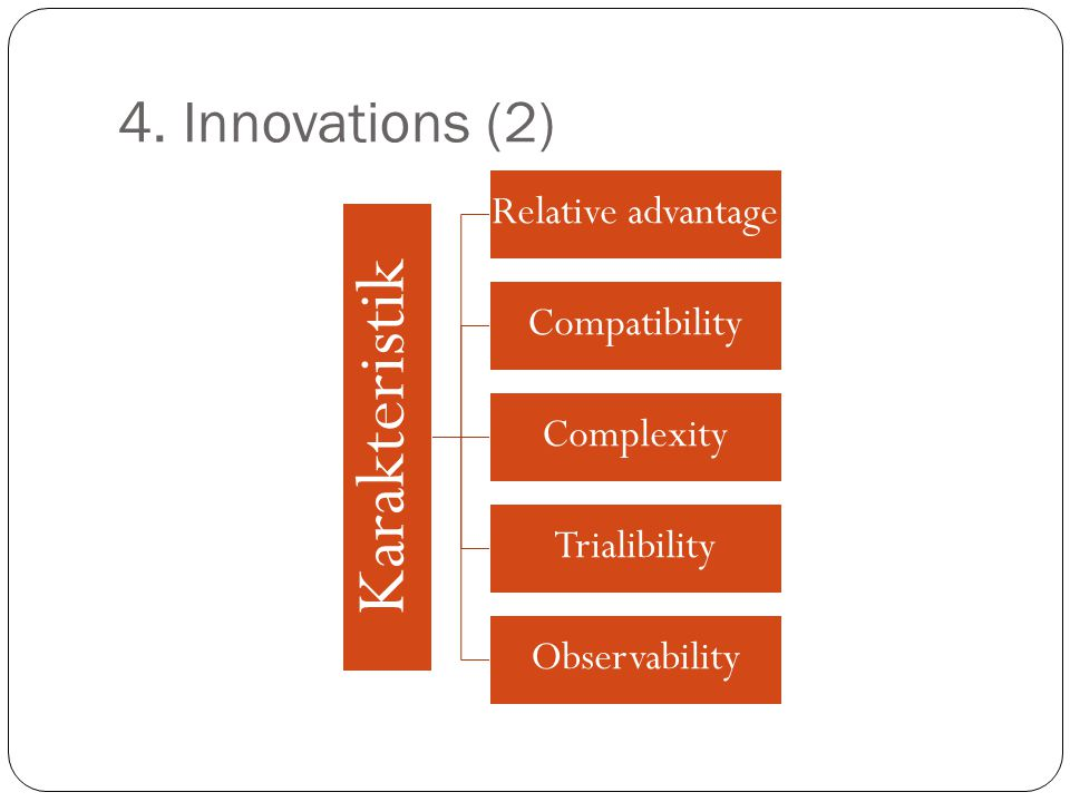 Karakteristik 4. Innovations (2) Relative advantage Compatibility