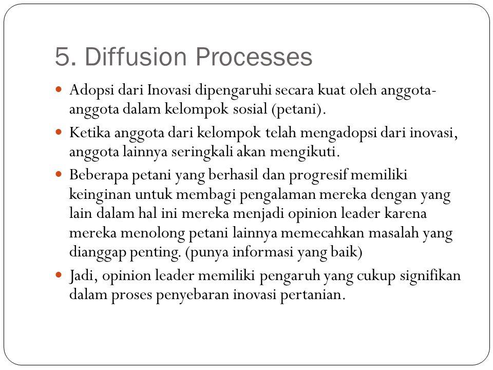 5. Diffusion Processes Adopsi dari Inovasi dipengaruhi secara kuat oleh anggota- anggota dalam kelompok sosial (petani).