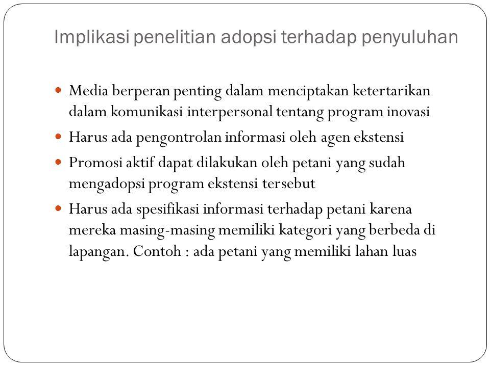 Implikasi penelitian adopsi terhadap penyuluhan